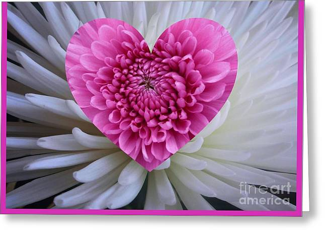 Pink Heart On White Greeting Card