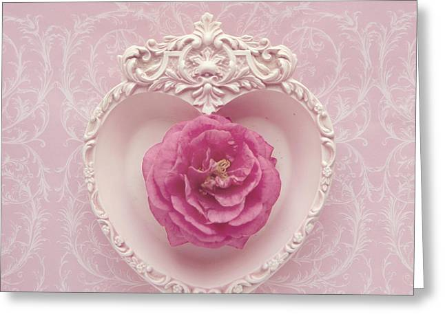 Greeting Card featuring the photograph Pink Heart - Pink Camellia by Cindy Garber Iverson