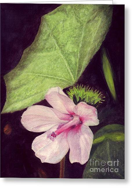 Greeting Card featuring the painting Pink Hibiscus by Mukta Gupta