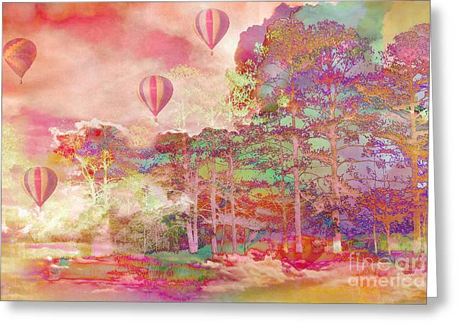 Pink Hot Air Balloons Abstract Nature Pastels - Dreamy Pastel Balloons Greeting Card by Kathy Fornal