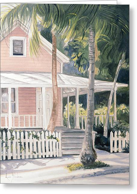 Pink House Greeting Card by Lucie Bilodeau