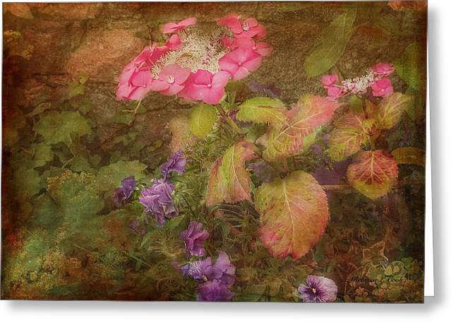 Pink Hydrangea And Purple Pansies Greeting Card by Bellesouth Studio