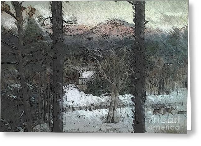 Snow - Pink Mountain - Blueridge Mountains Greeting Card by Jan Dappen