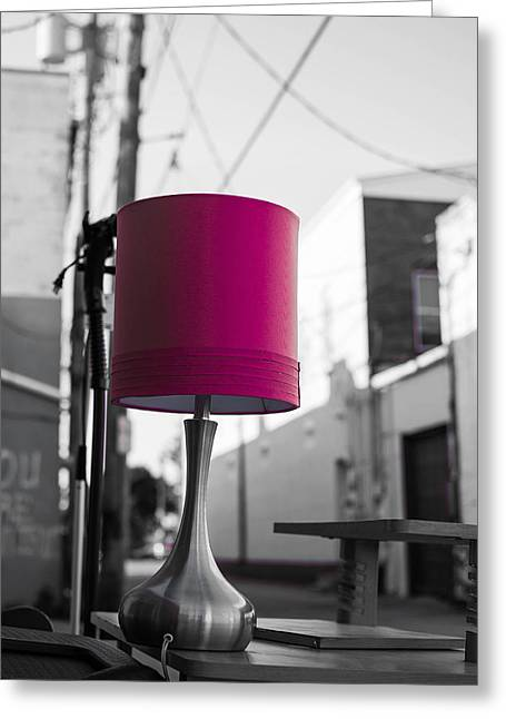 Pink Lamp In The Trash Greeting Card
