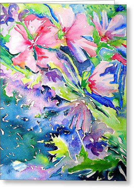 Pink Lavatera Profusion Greeting Card by Trudi Doyle