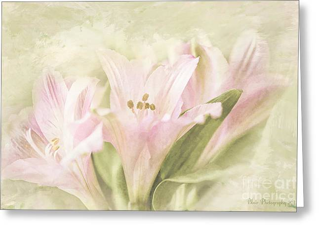 Greeting Card featuring the painting Pink Lilies by Linda Blair