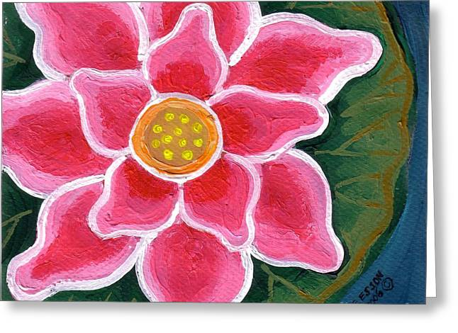 Pink Water Lily Greeting Card by Genevieve Esson