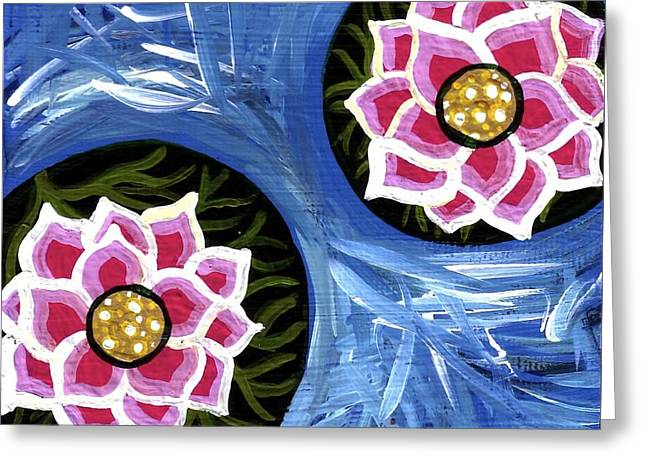 Pink Water Lilies Greeting Card by Genevieve Esson