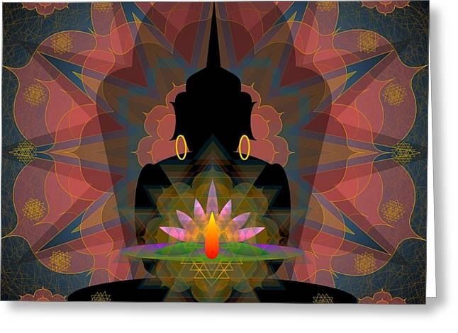 Pink Lotus Buddha Greeting Card