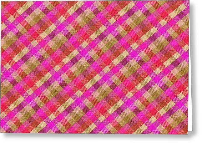 Pink Magenta And Green Plaid Textile Background Greeting Card by Keith Webber Jr