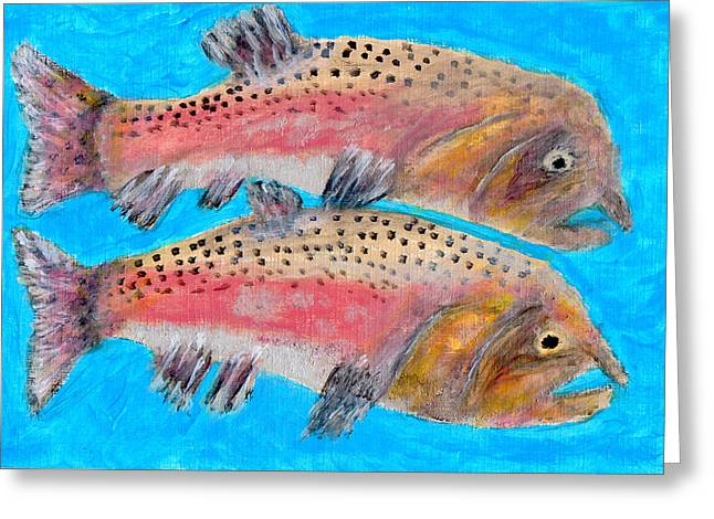 Pink Male Salmon  Greeting Card