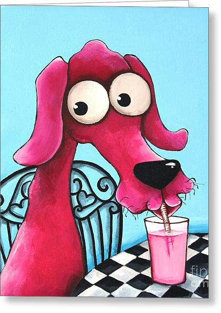 Pink Milk Greeting Card by Lucia Stewart