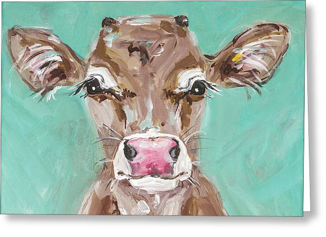 Pink Nosed Cow Greeting Card