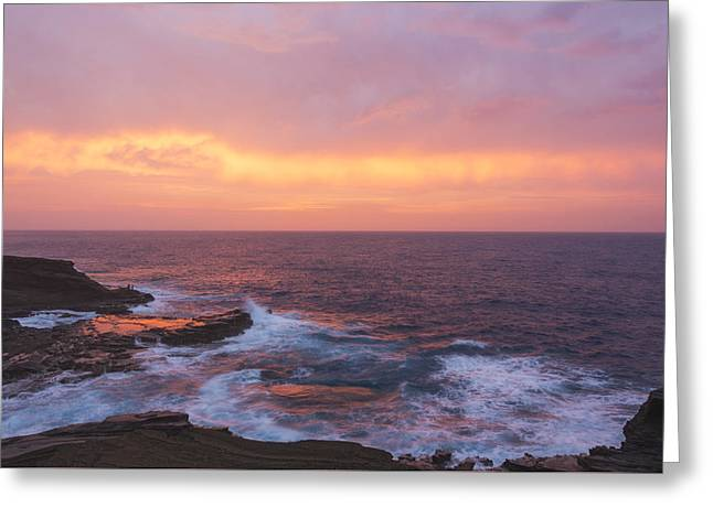 Pink Oahu Sunrise - Hawaii Greeting Card by Brian Harig