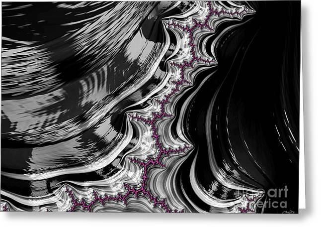 Pink On Black And White Fractal Abstract Greeting Card