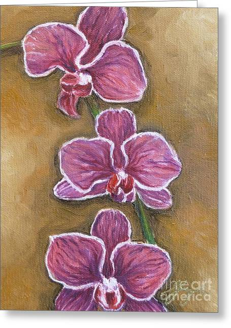 Pink Orchids Greeting Card by Gayle Utter