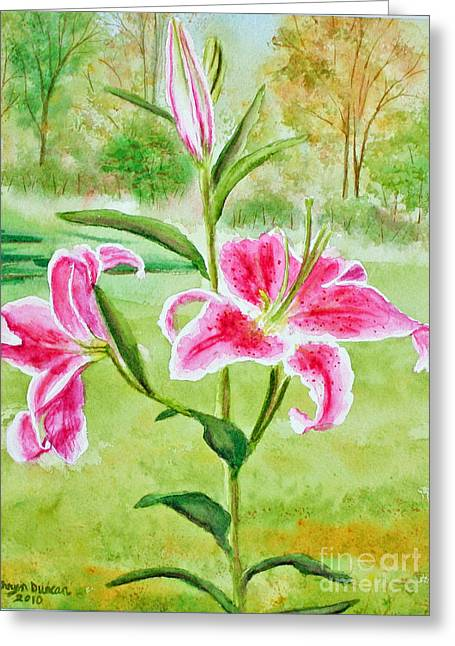 Pink Oriental Lillies Greeting Card by Kathryn Duncan
