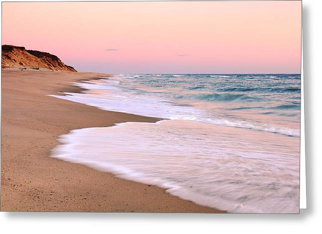 Pink Pastel Beach And Sky Greeting Card by Roupen  Baker