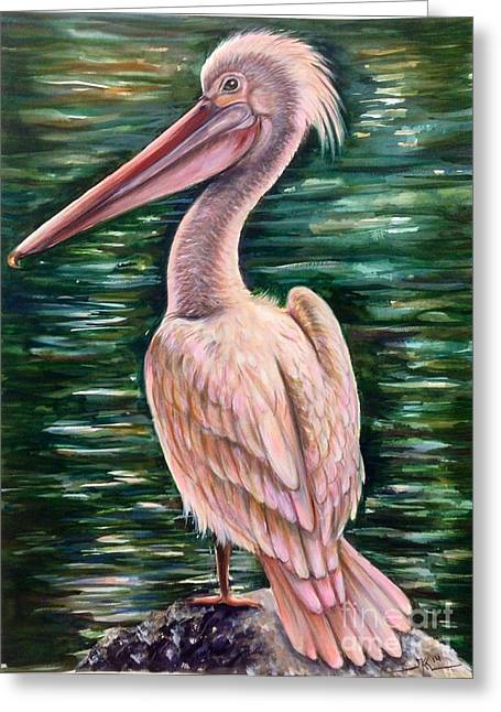 Pink Pelican Greeting Card