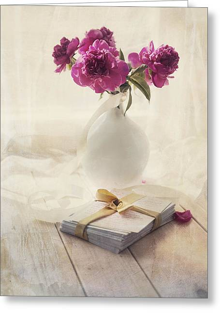 Pink Peonies And Pile Of Letters On The Wooden Table Greeting Card