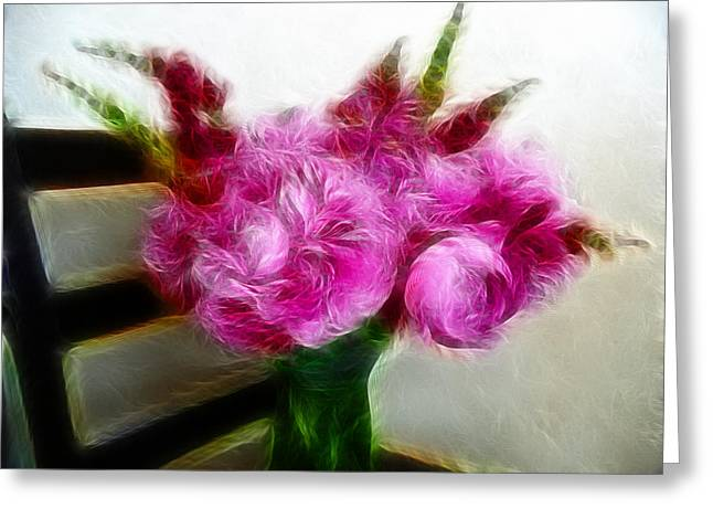 Pink Peonies And Snapdragons In Vase Greeting Card by Cindy Wright