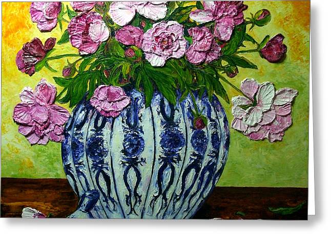 Pink Peonies In A Vase Greeting Card by Paris Wyatt Llanso