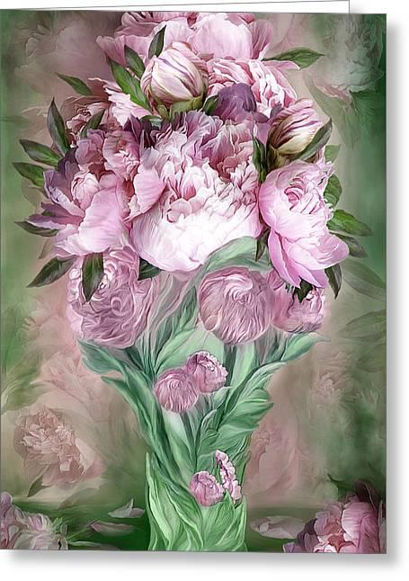 Pink Peonies In Peony Vase Greeting Card
