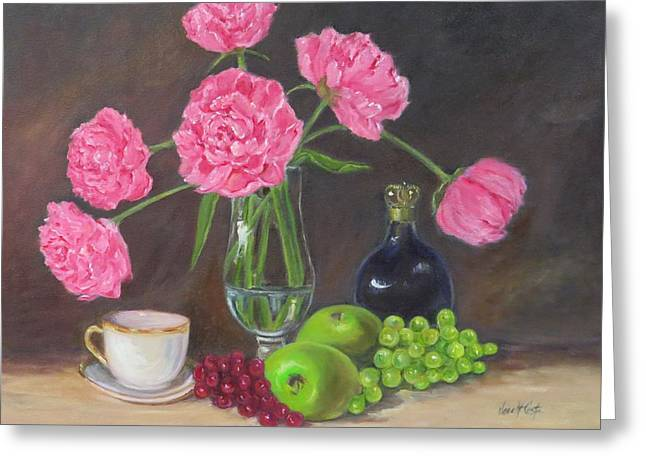 Pink Peonies With Still Life  Greeting Card by Jean Costa