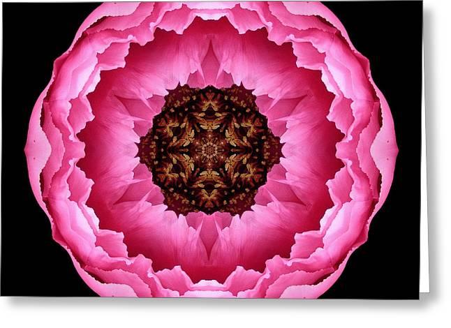 Pink Peony Flower Mandala Greeting Card