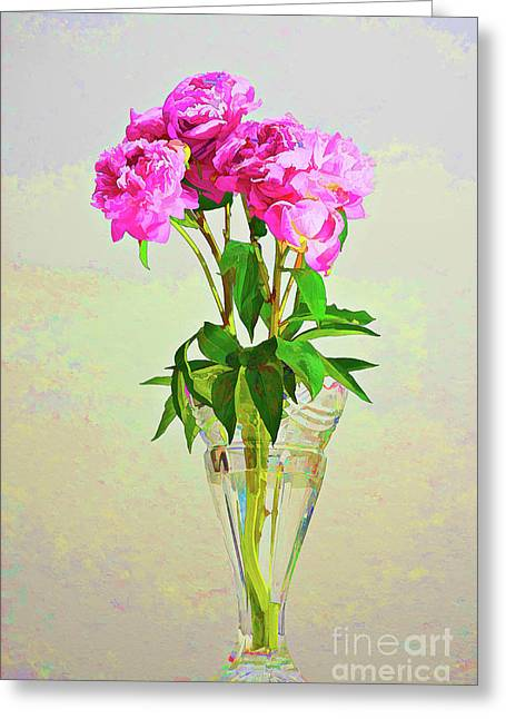 Pink Peony Flowers Greeting Card