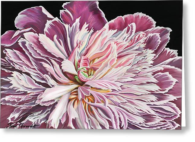 Greeting Card featuring the painting Pink Peony by Jane Girardot