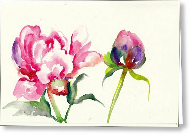 Pink Peony With Bud And Leaf Watercolor Greeting Card