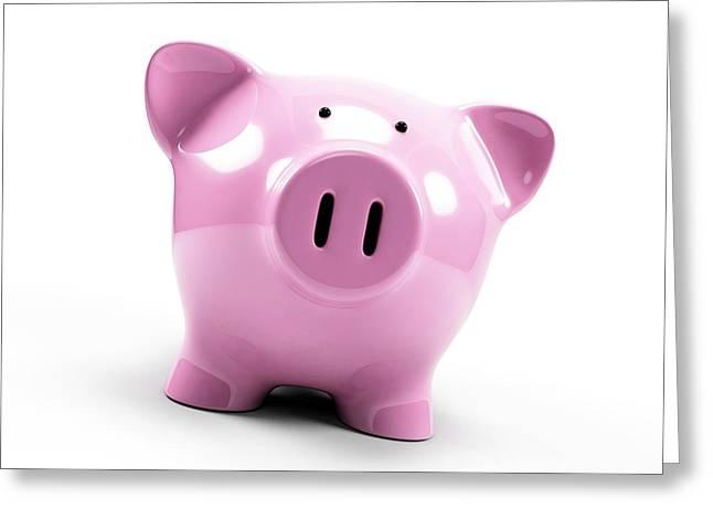 Pink Piggy Bank Greeting Card by Sebastian Kaulitzki