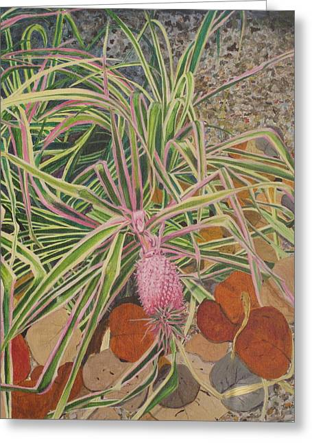 Greeting Card featuring the painting Pink Pineapple by Hilda and Jose Garrancho
