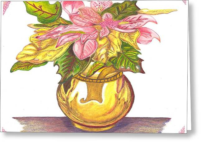 Pink Poinsettia Plant Greeting Card