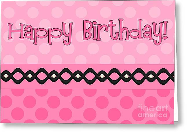 Pink Polka Birthday Greeting Card by JH Designs