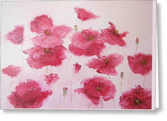 Pink Poppies By Jan Matson Greeting Card