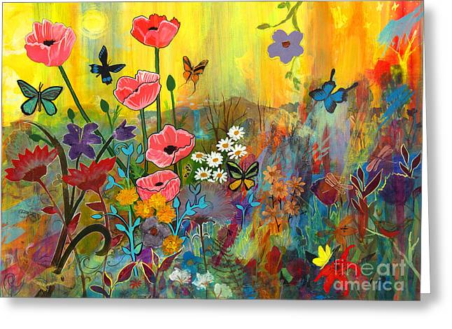 Greeting Card featuring the painting Pink Poppies In Paradise by Robin Maria Pedrero