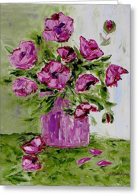 Pink Poppies In Pink Vase Greeting Card