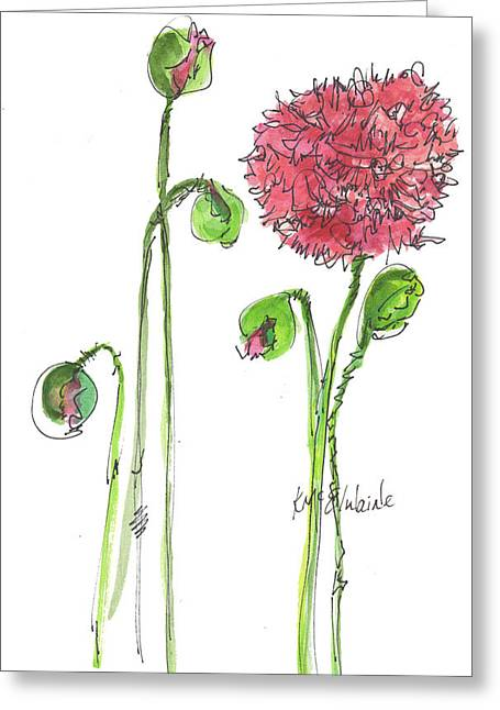 Pink Poppy Greeting Card by Kathleen McElwaine