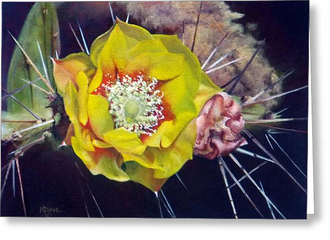 Pink Prickly Pear Yellow Cactus Flower Greeting Card