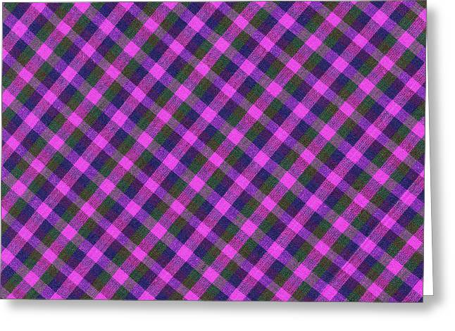 Pink Purple And Green Diagonal Plaid Textile Background Greeting Card by Keith Webber Jr