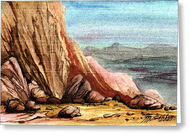 Greeting Card featuring the painting Pink Rocks by Mikhail Savchenko