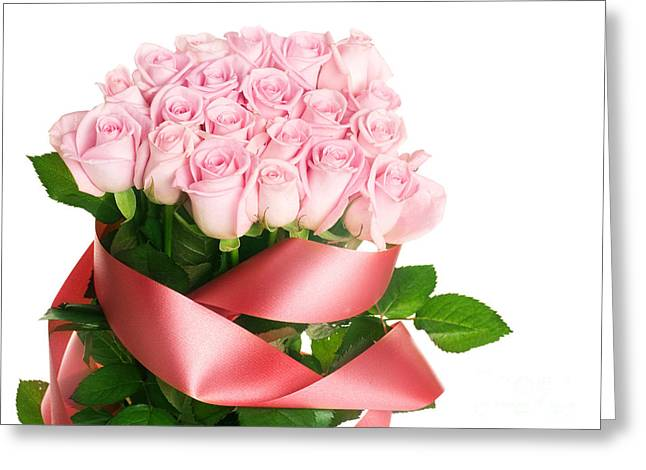 Pink Rose Bouquets For Weddings Greeting Card by Boon Mee