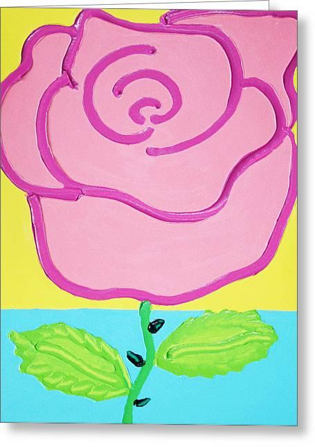 Pink Rose Greeting Card by Matthew Brzostoski