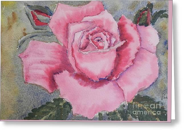 Pink Rose Greeting Card by Pamela  Meredith