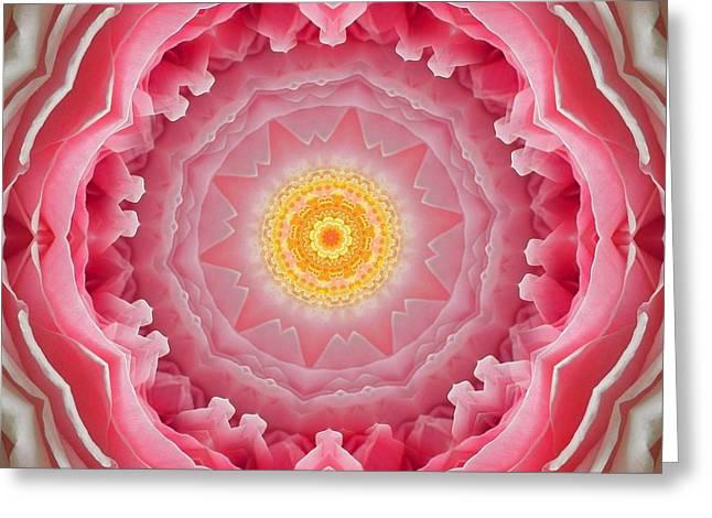 Pink Rose Sunshine Mandala Greeting Card