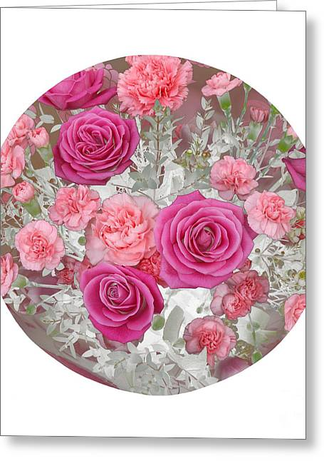 Pink Roses And Carnations In Circle Greeting Card by Rosemary Calvert