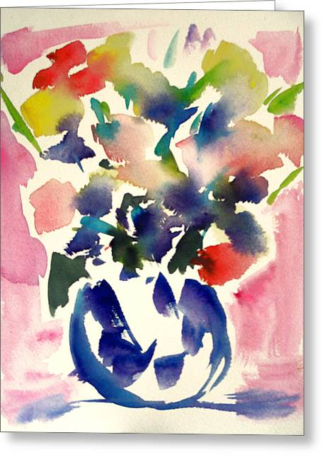 Pink Roses In A Blue Vase Greeting Card by Tolere