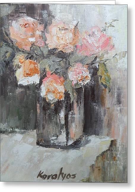 Pink Roses In A Vase Greeting Card by Maria Karalyos